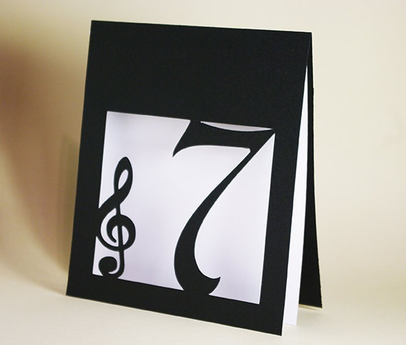 Treble Clef Table Number - etsy.com