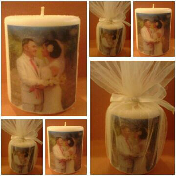 Wedding favour photo candle