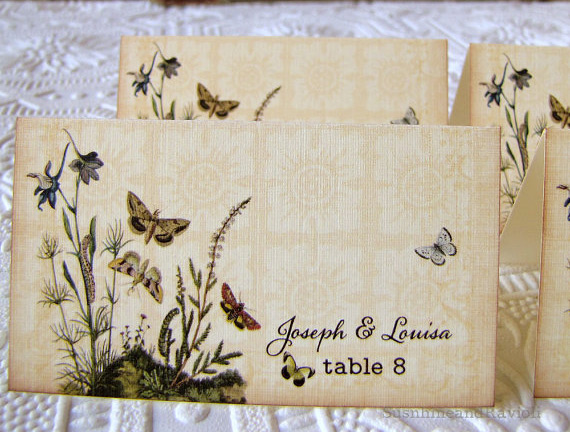 Butterfly themed escort cards