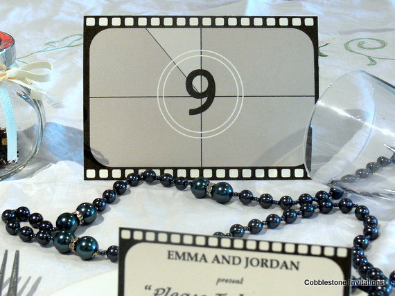 Film reel table number cards - etsy.com