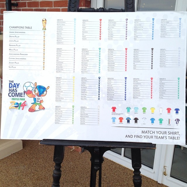 World Cup wedding table plan - via Instagram