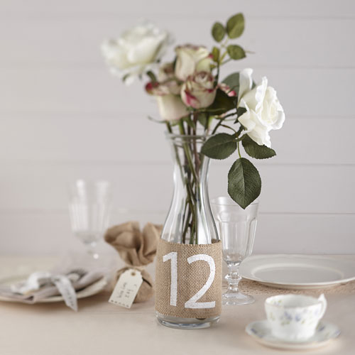 Hessian homespun table number - confetti.co.uk
