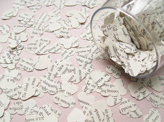 Romance novel heart shaped confetti