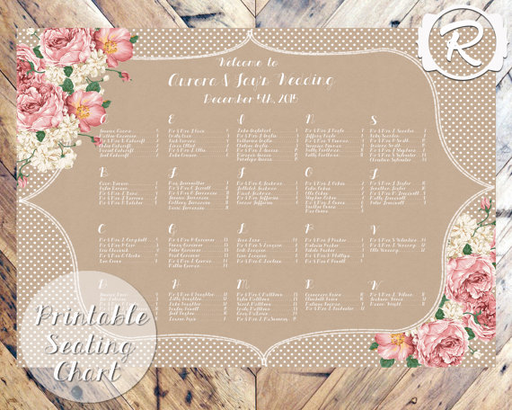 Vintage rustic style floral printable seating plan - etsy.com