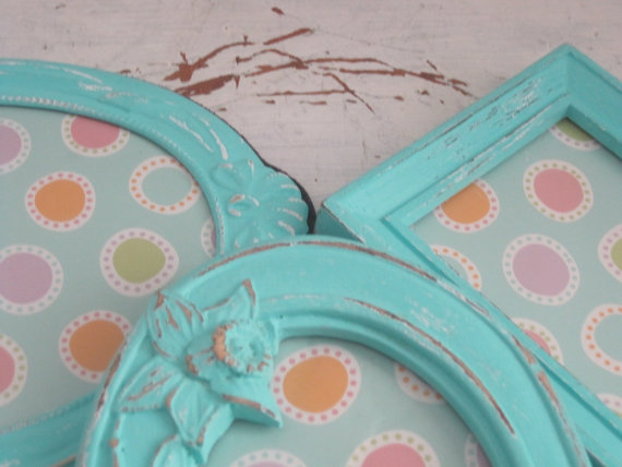 Aquamarine shabby chic picture frames - etsy.com
