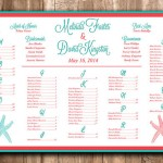 Aqua & Coral Wedding Seating Plans