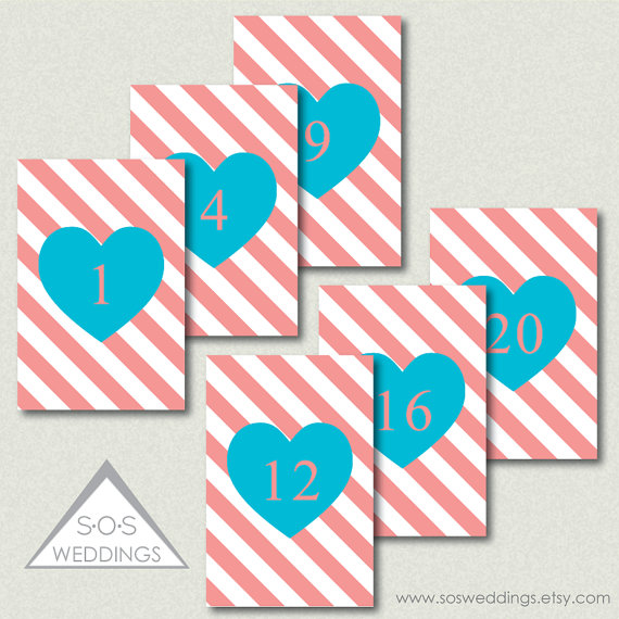 Coral and aqua table numbers