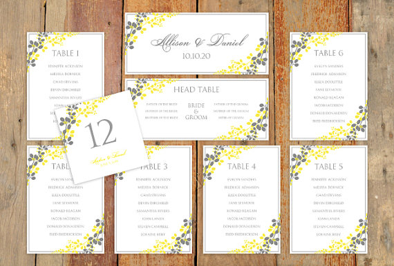 Yellow and grey seating chart template (downloadable PDF) - etsy.com
