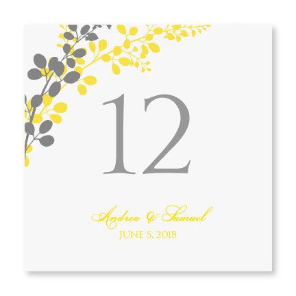 Yellow and grey table number template