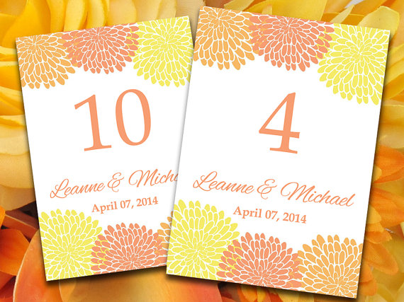 Orange and yellow table numbers