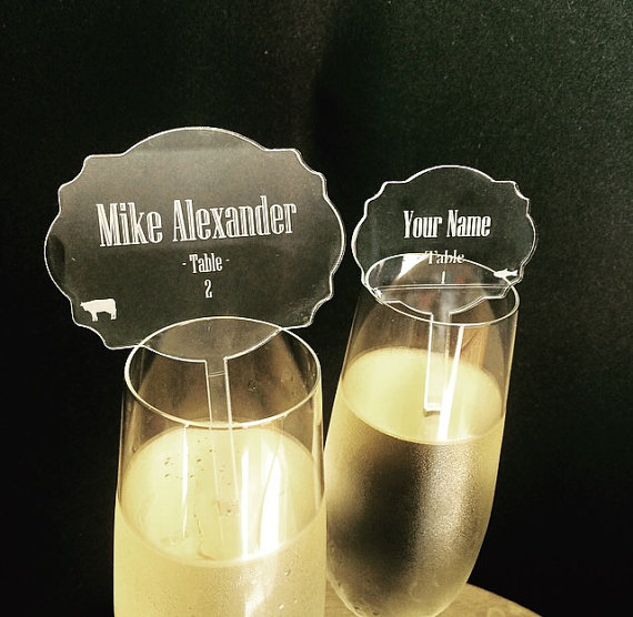 Laser cut etched acrylic escort cards