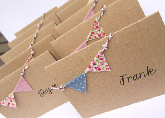 Vintage place cards with mini bunting