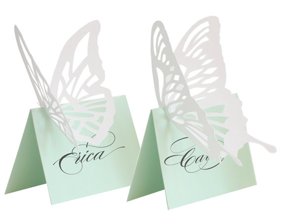 Mint green butterfly escort cards