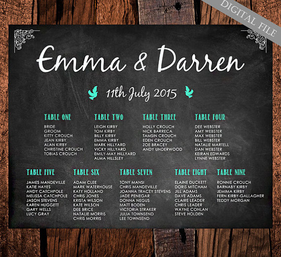 Mint green printable chalkboard seating plan