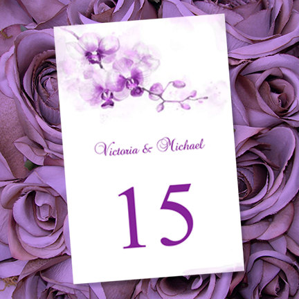 Purple orchid table number - etsy.com