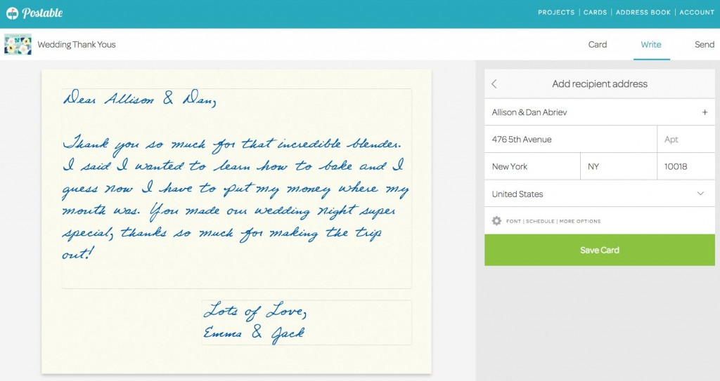 Postable takes the stress out of thank you notes.