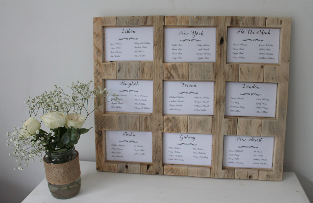 Elegant rustic picture frame table plan