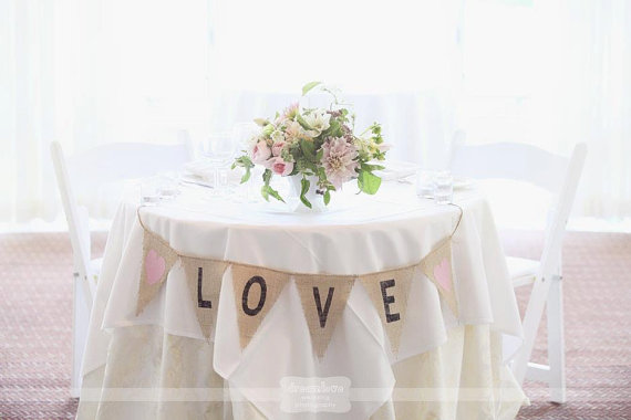 Burlap banner for sweetheart table