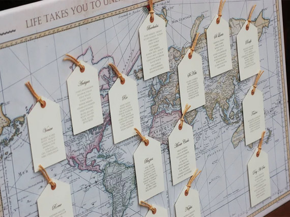 Vintage world map wedding seating plan