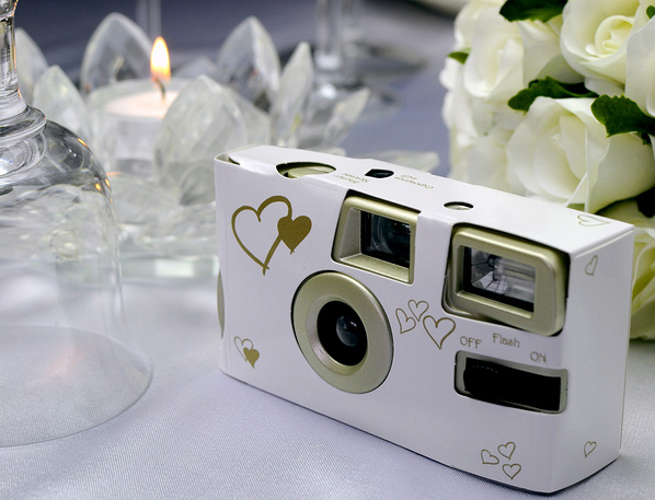 Disposable camera on a table at a wedding reception