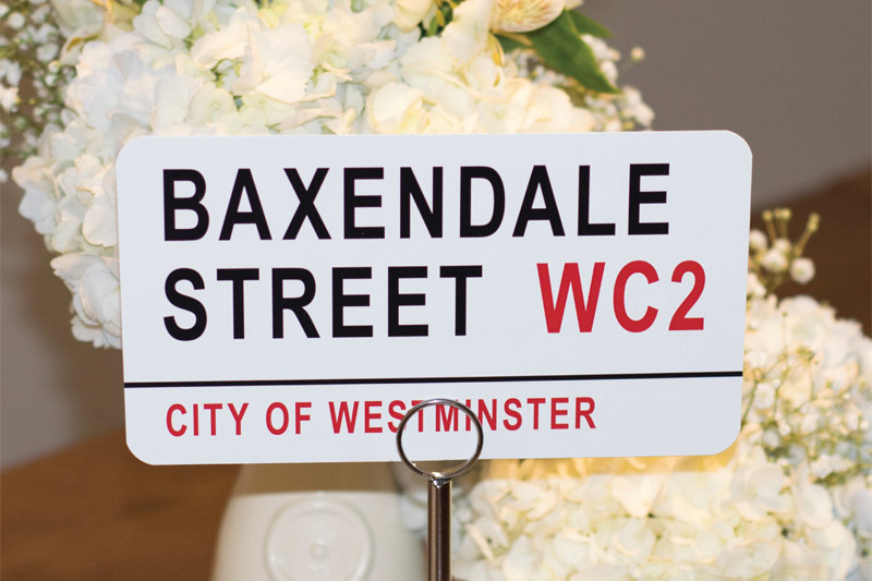 London street sign table names
