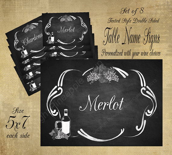 Wine themed printable table name signs